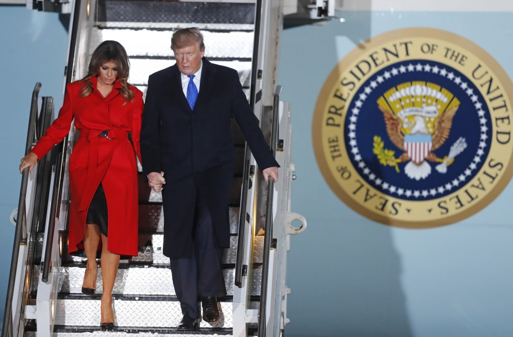 U.S. President Donald Trump and U.S. first lady Melania Trump arrive at Stansted Airport in England, Monday, Dec. 2, 2019. US President Donald Trump w...