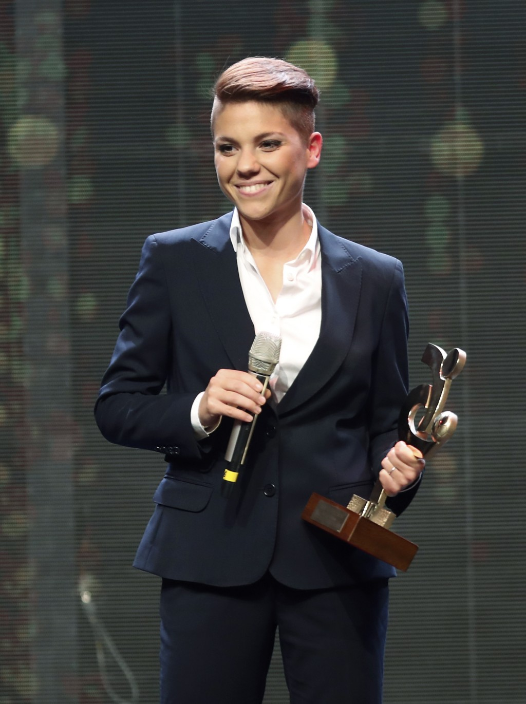 Manuela Giuliano poses with the trophy for best Italian Serie A women player, during the Gran Gala' soccer awards ceremony, in Milan, Italy, Monday, D...