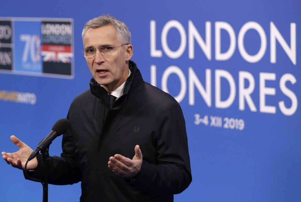 NATO Secretary General Jens Stoltenberg gives a statement prior to the arrival of NATO leaders meeting at The Grove hotel and resort in Watford, Hertf...
