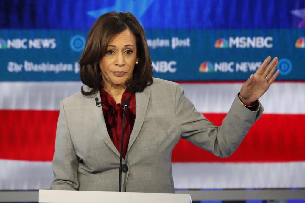 FILE - In this Nov. 20, 2019 file photo, Democratic presidential candidate Sen. Kamala Harris, D-Calif., speaks during a Democratic presidential prima...