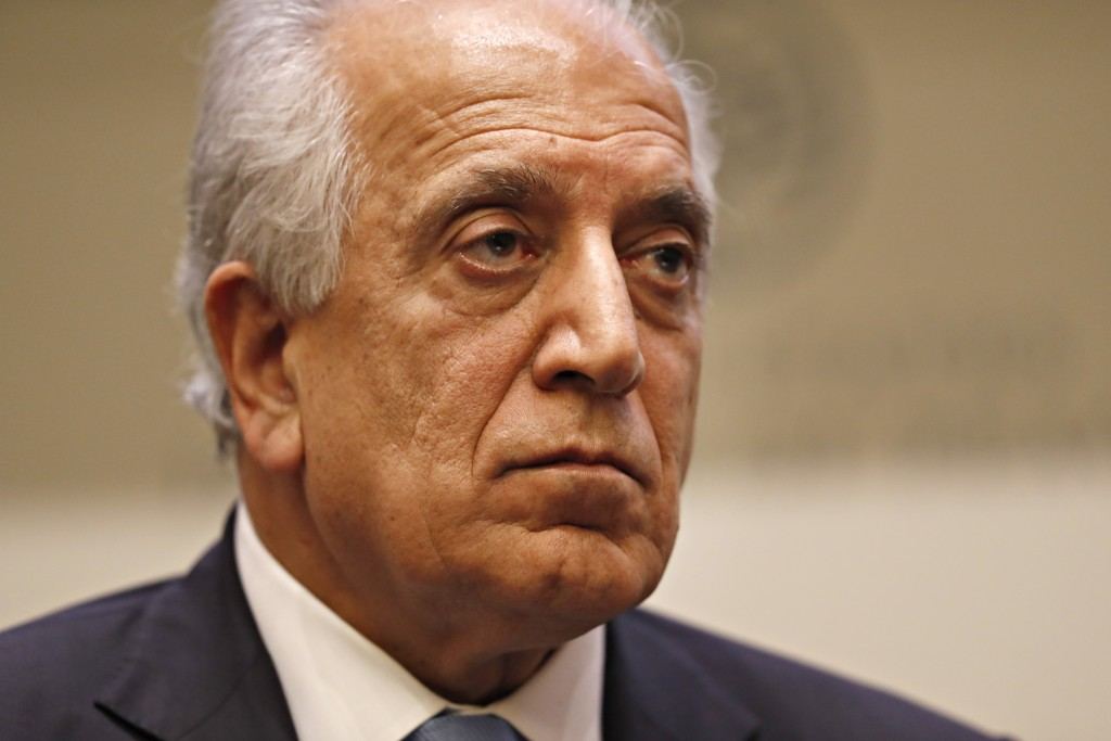 FILE - In this Feb. 8, 2019, file photo, Special Representative for Afghanistan Reconciliation Zalmay Khalilzad pauses while speaking about the prospe...