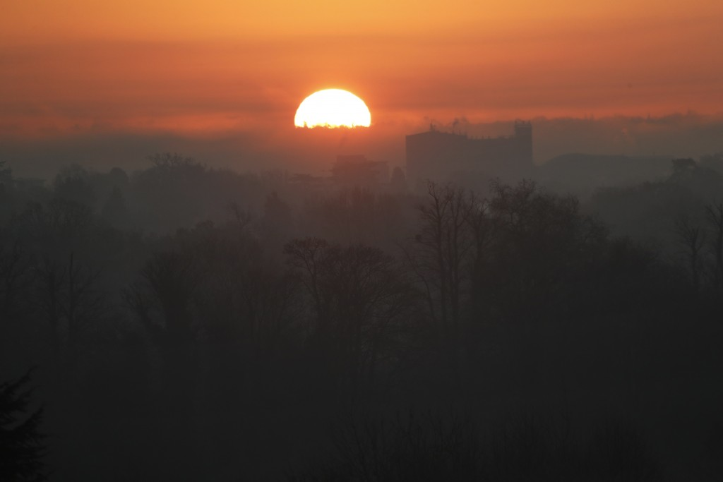 'The sun rises as NATO leaders arrive for a meeting at The Grove hotel and resort in Watford, Hertfordshire, England, Wednesday, Dec. 4, 2019. As NATO...