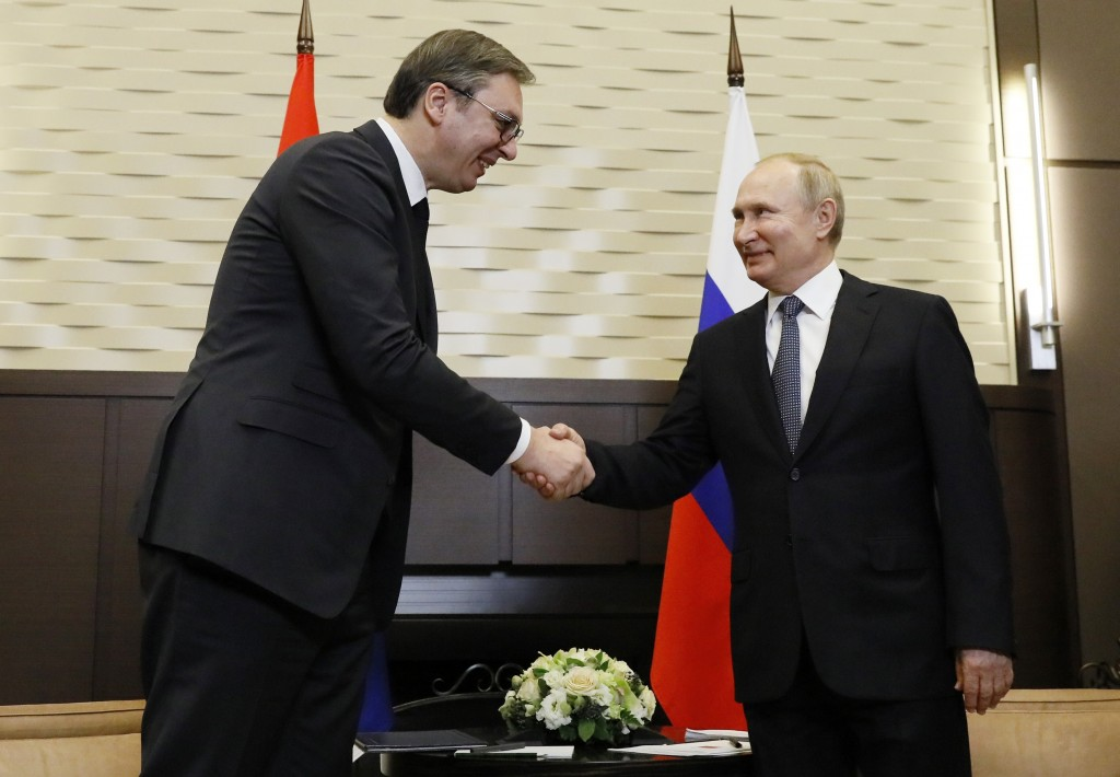 Russian President VladimirPutin shakes hands with his Serbian President Aleksandar Vucic in the Bocharov Ruchei residence in the Black Sea resort of ...