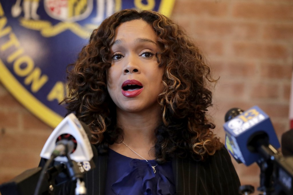 Maryland State Attorney Marilyn Mosby speaks during a news conference announcing the indictment of correctional officers, Tuesday, Dec. 3, 2019, in Ba...