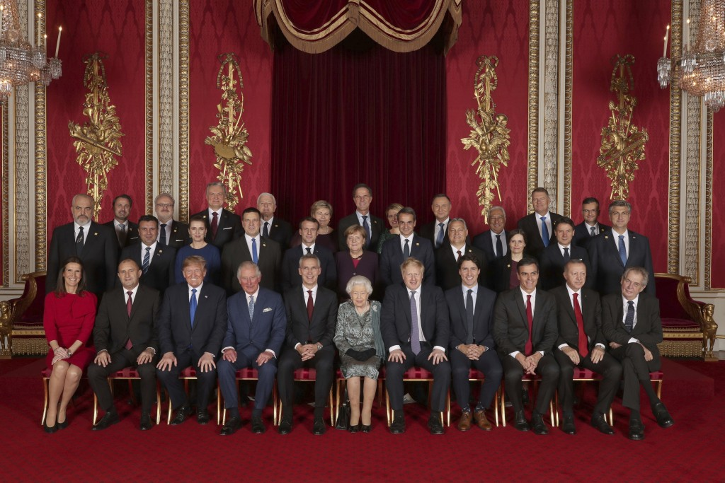 Leaders of the NATO alliance countries, and its secretary general, join Britain's Queen Elizabeth II and Prince Charles the Prince of Wales, for a gro...