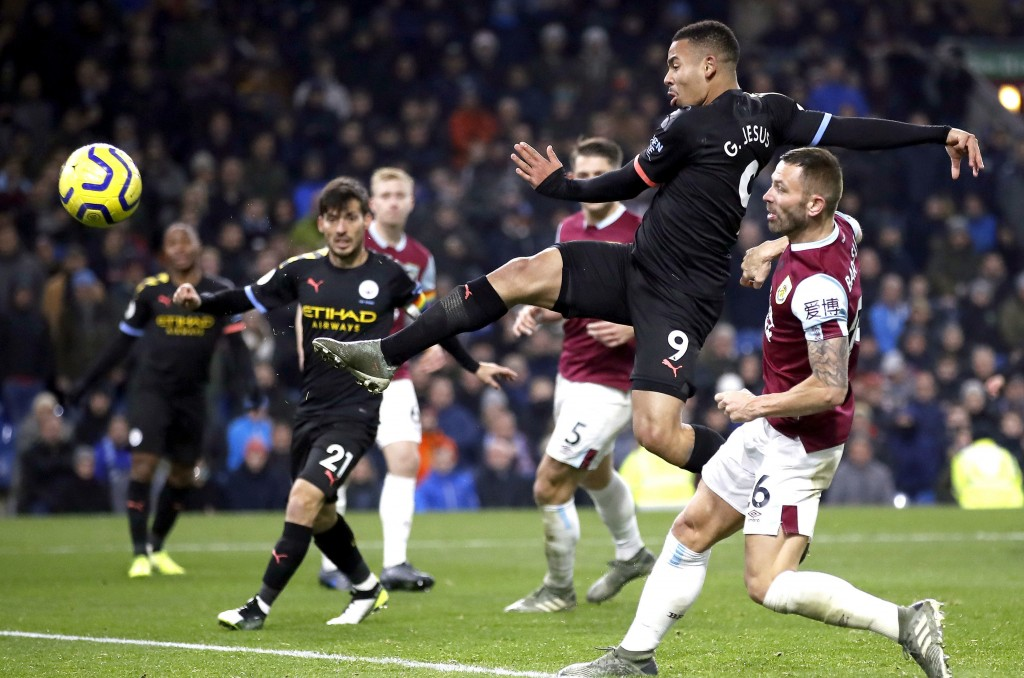 Manchester City's Gabriel Jesus scores his side's second goal of the game against Burnley during their Premier League soccer match at Turf Moor in Bur...