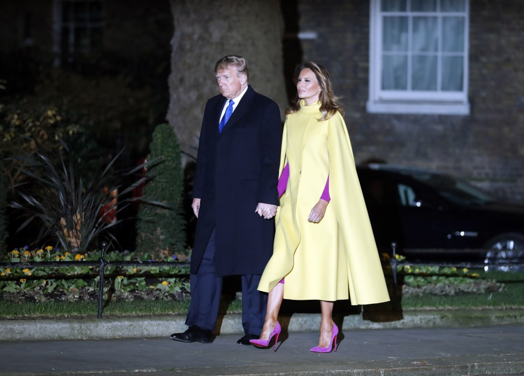 U.S. President Donald Trump and first lady Melania arrive at 10 Downing Street in London ahead of a NATO reception hosted by British Prime Minister Bo...