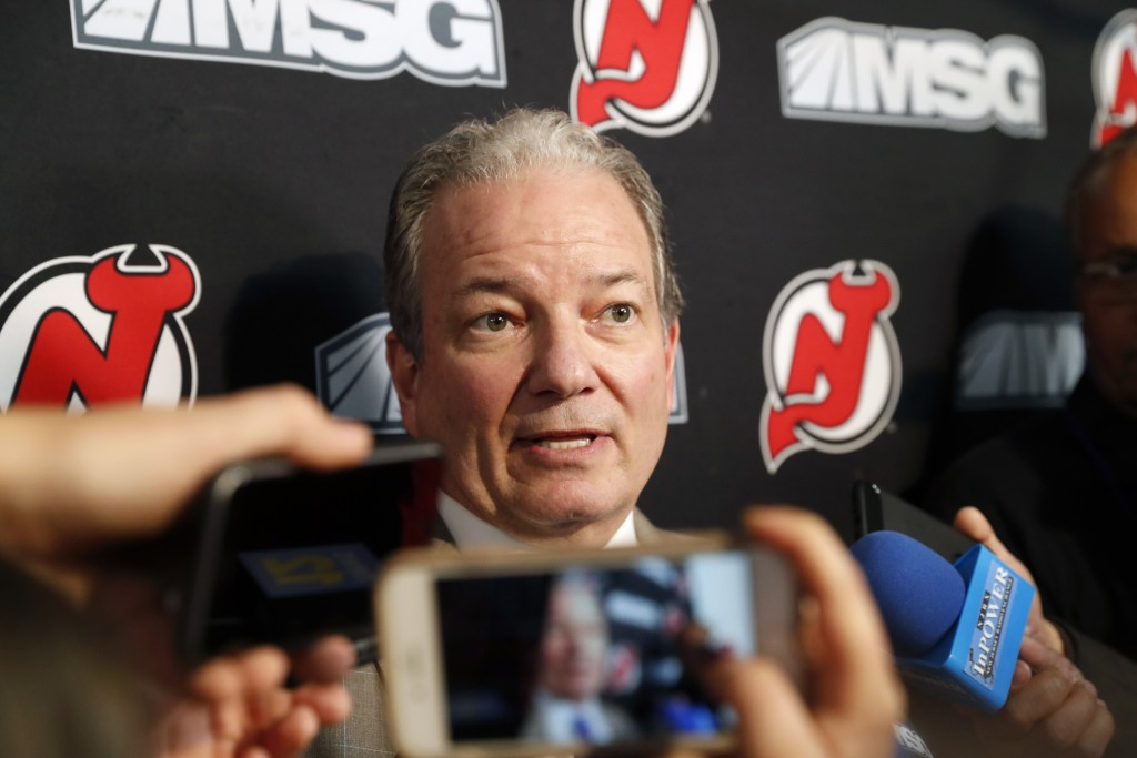 New Jersey Devils General Manager Ray Shero speaks to members of the media before an NHL hockey game against the Vegas Golden Knights, Tuesday, Dec. 3...