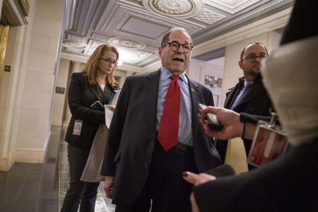 House Judiciary Committee Chairman Jerrold Nadler, D-N.Y., speaks with reporters after a closed-door session with his Democratic members to prepare fo...