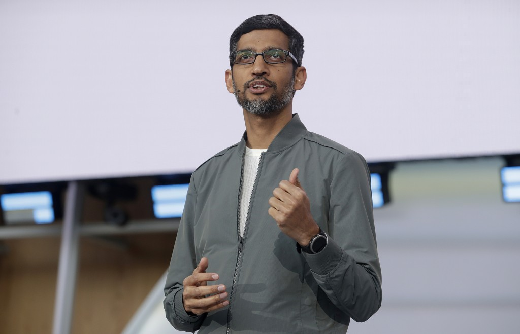 FILE - In this May 7, 2019 file photo, Google CEO Sundar Pichai speaks during the keynote address of the Google I/O conference in Mountain View, Calif...