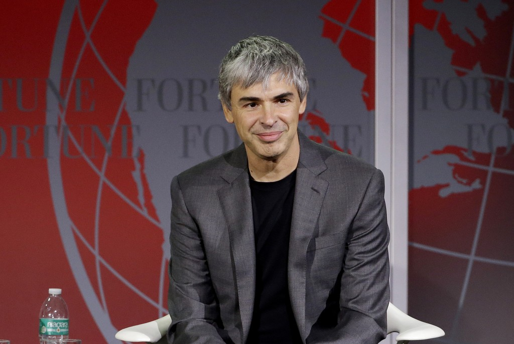 FILE - In this Nov. 2, 2015, file photo Alphabet CEO Larry Page speaks at the Fortune Global Forum in San Francisco.  Google co-founders Larry Page an...