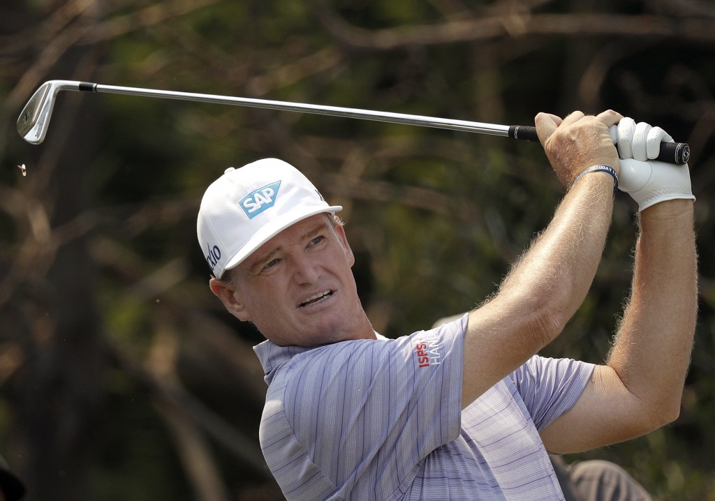 South Africa's Ernie Els tees off on the second hole during the Australian Open Golf Pro-AM in Sydney, Wednesday, Dec. 4, 2019. The Australian Open be...