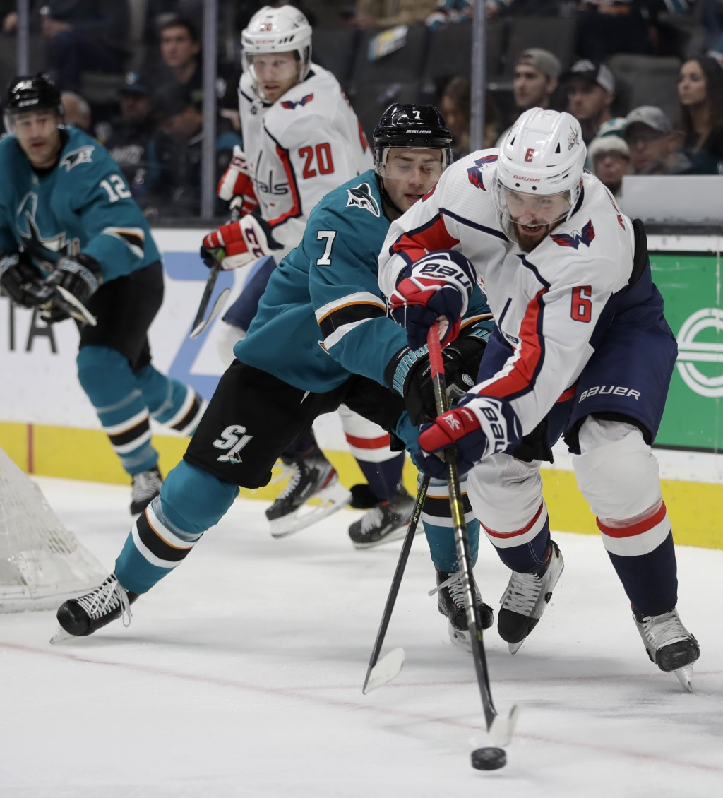 Washington Capitals' Michal Kempny, right, moves the puck past San Jose Sharks' Dylan Gambrell (7) in the first period of an NHL hockey game Tuesday, ...