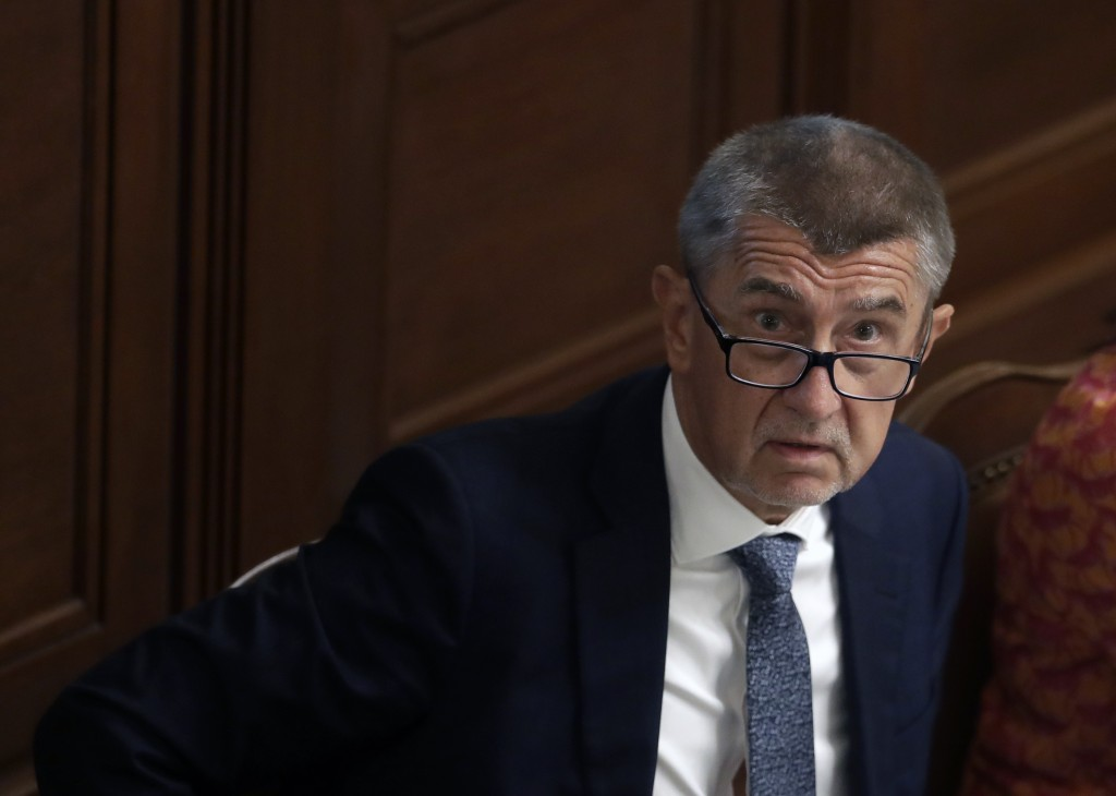 FILE - In this Wednesday, June 26, 2019, file photo, Czech Republic's Prime Minister Andrej Babis looks up during a parliament session in Prague, Czec...