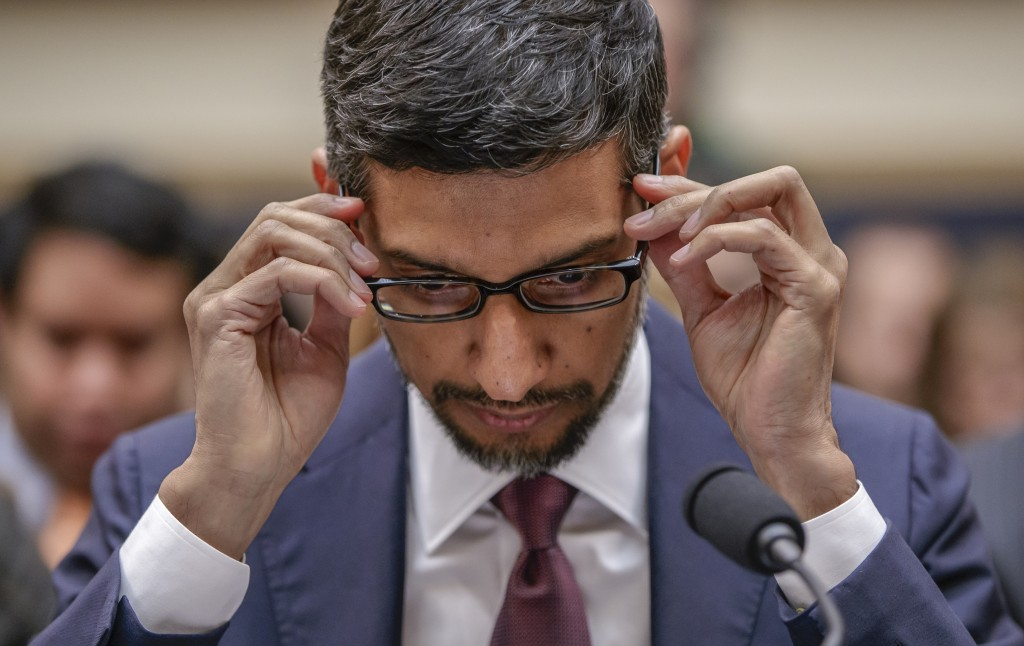 FILE - In this Dec. 11, 2018, file photo Google CEO Sundar Pichai appears before the House Judiciary Committee to be questioned about the company's pr...