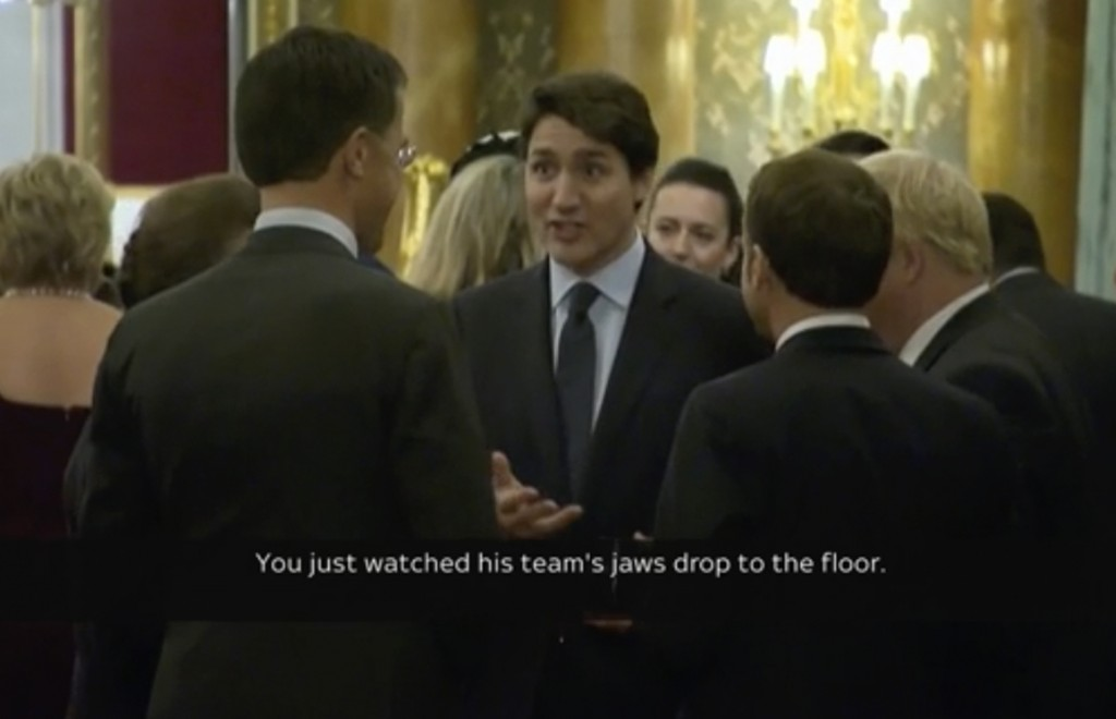 In this grab taken from video on Tuesday, Dec. 3, 2019, Canada's Prime Minister Justin Trudeau, centre, gestures as he speaks during a NATO reception....