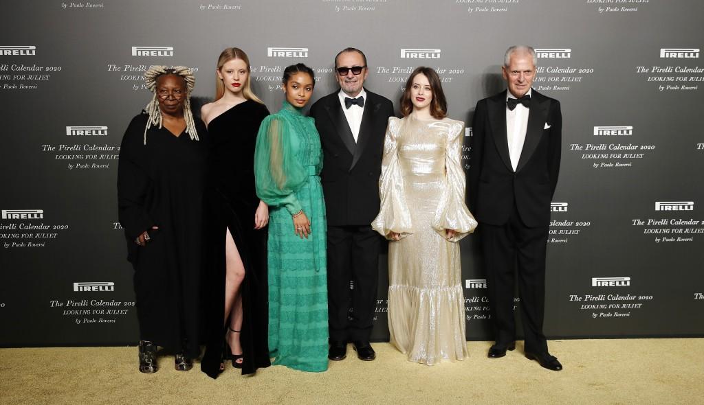 From left, American actress Whoopi Goldberg, British model Mia Goth, American model Yara Shahidi, Italian photographer Paolo Roversi, British actress ...