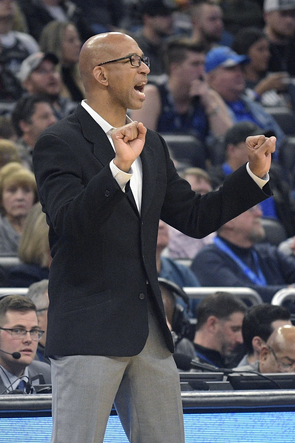 Phoenix Suns head coach Monty Williams calls out instructions during the first half of an NBA basketball game against the Orlando Magic Wednesday, Dec...