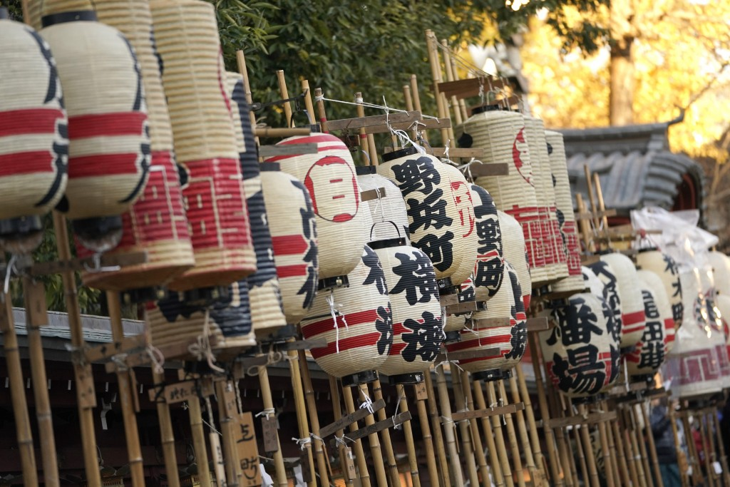 In this Tuesday, Dec. 3, 2019, photo, paper lanterns are displayed at the Chicibu Shrine before the Chichibu Night Festival in Chichibu, west of Tokyo...