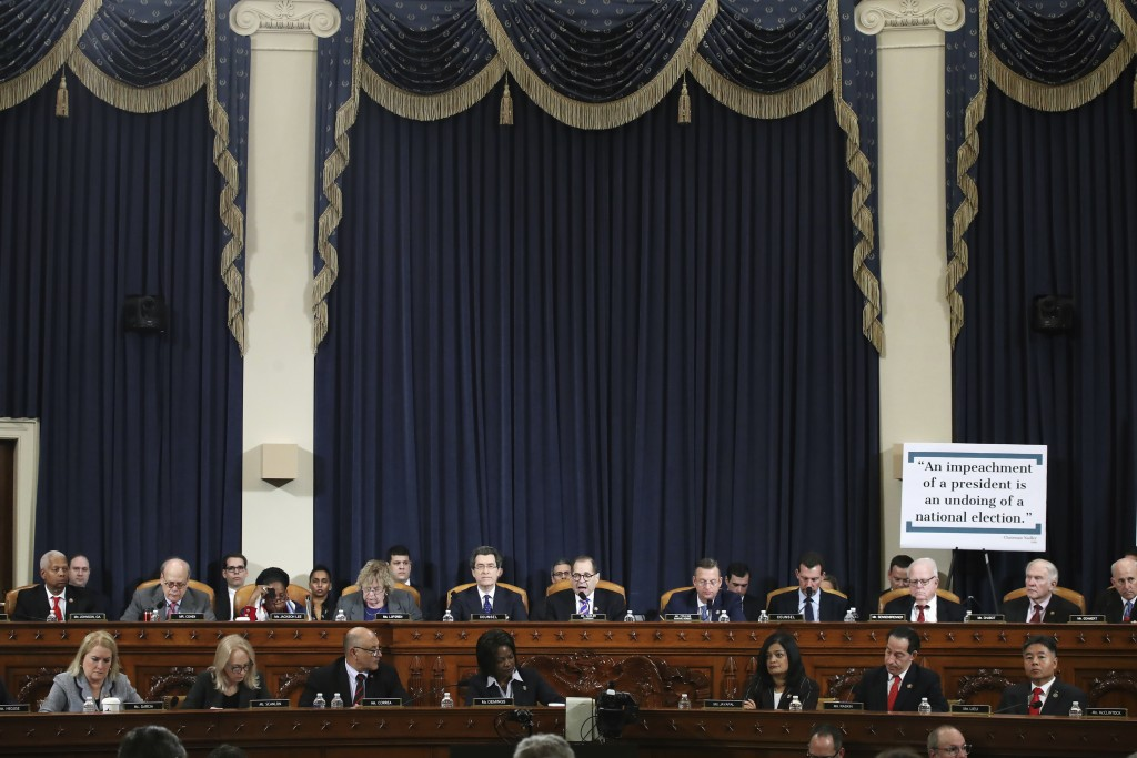 House Judiciary Committee Chairman Rep. Jerrold Nadler, D-N.Y., center, with members of the committee, speaking during a hearing before the House Judi...