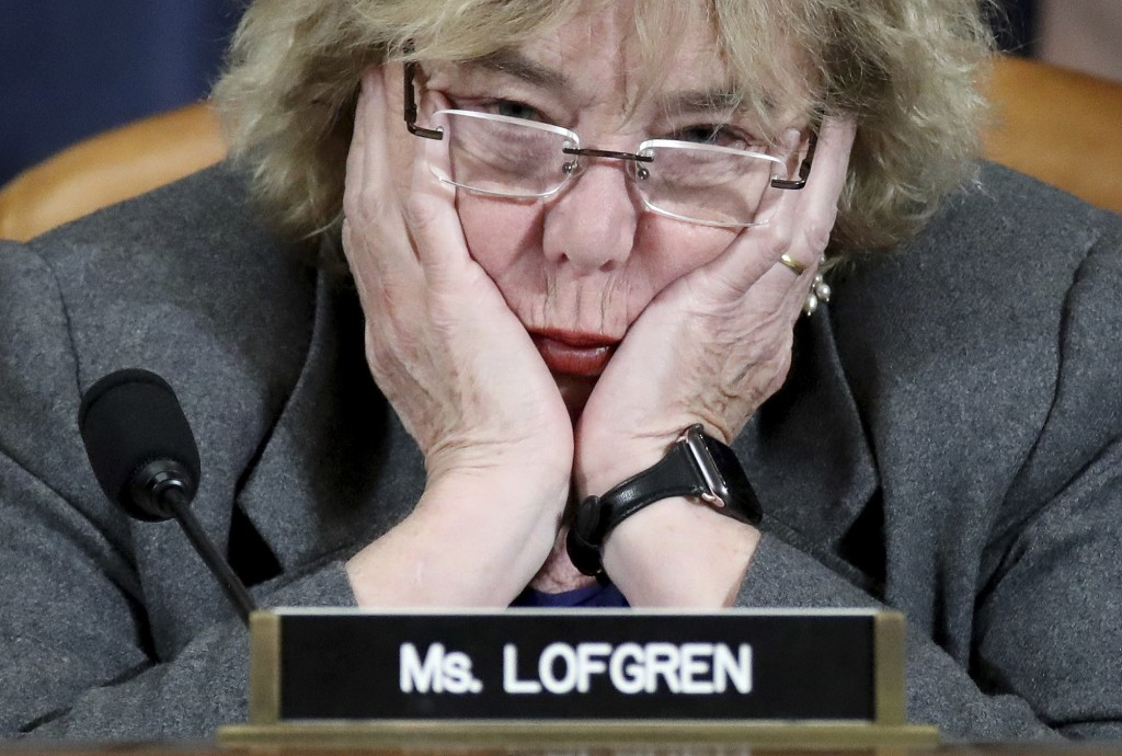 Rep. Zoe Lofgren, D-Caif., listens as constitutional scholars testify before the House Judiciary Committee in the Longworth House Office Building on C...