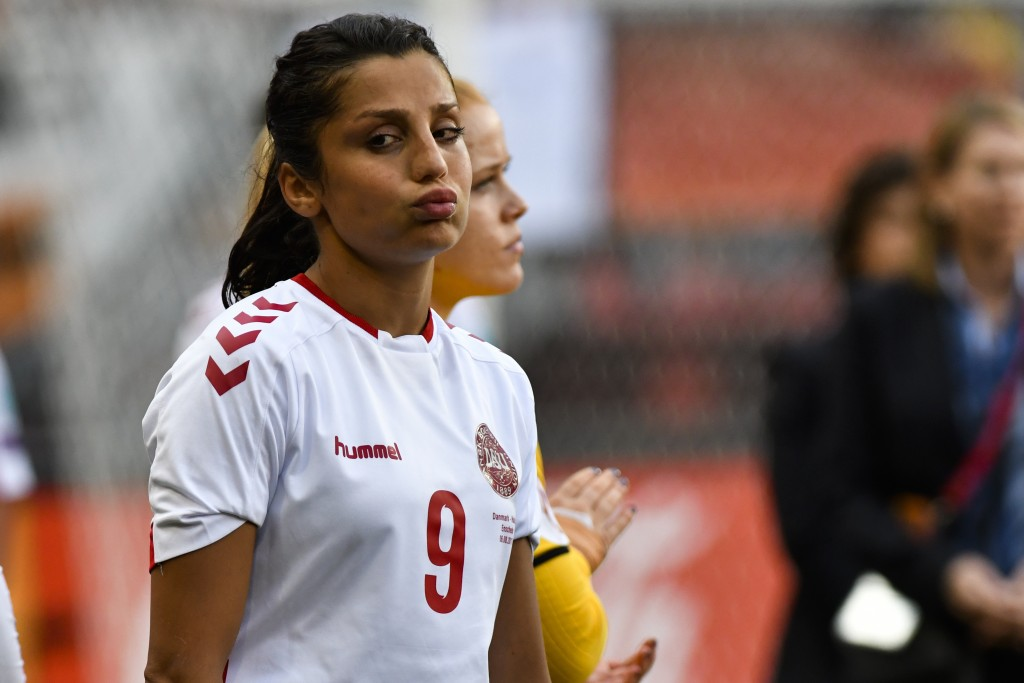 FILE - In this file photo dated Sunday, Aug. 6, 2017, Denmark's Nadia Nadim during the Women's Euro 2017 final soccer match against  Netherlands in En...