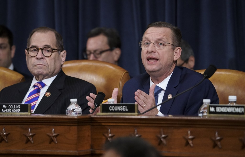 Rep. Doug Collins, R-Ga., the ranking member of the House Judiciary Committee, joined at left by Chairman Jerrold Nadler, D-N.Y., makes his opening st...