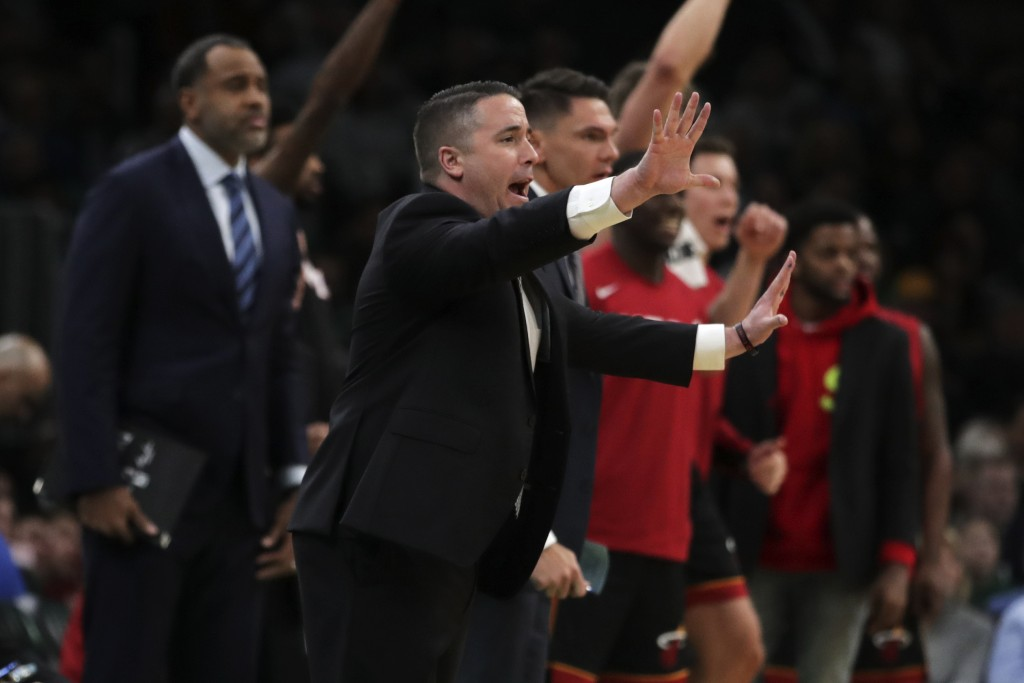 Miami Heat assistant coach Dan Craig, who was filling in for head coach Erik Spoelstra, calls to players during the first half of an NBA basketball ga...