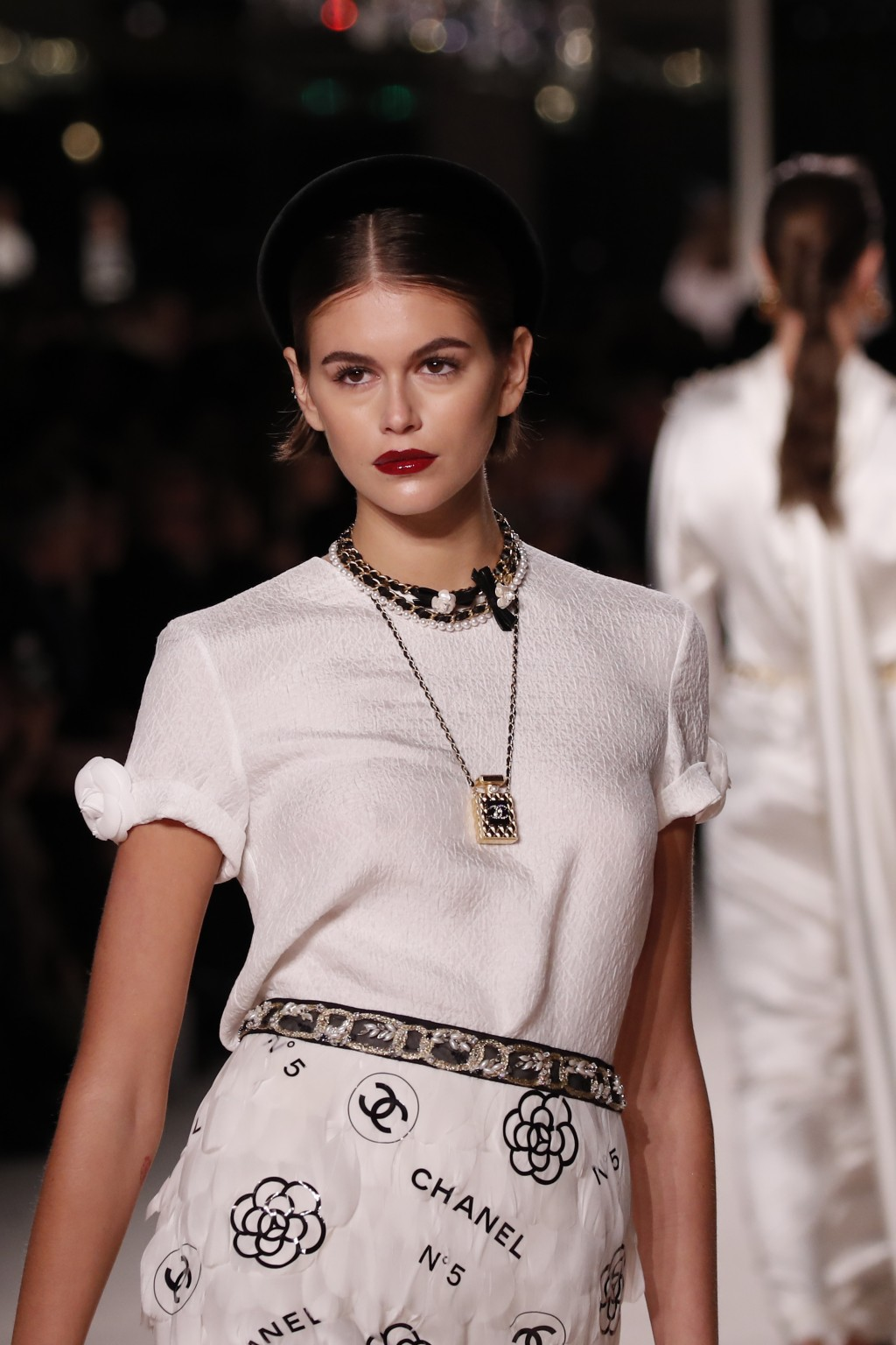 Model Kaia Gerber wears a creation for Chanel's Metiers d'Art collection presented at the Grand Palais in Paris, Wednesday, Dec.4, 2019. (AP Photo/Fra...