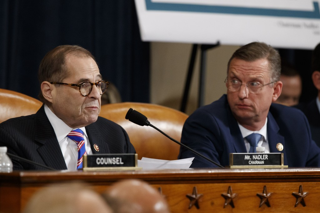 House Judiciary Committee Chairman Rep. Jerrold Nadler, D-N.Y., left, gives his closing statement as ranking member Rep. Doug Collins, R-Ga., listens ...