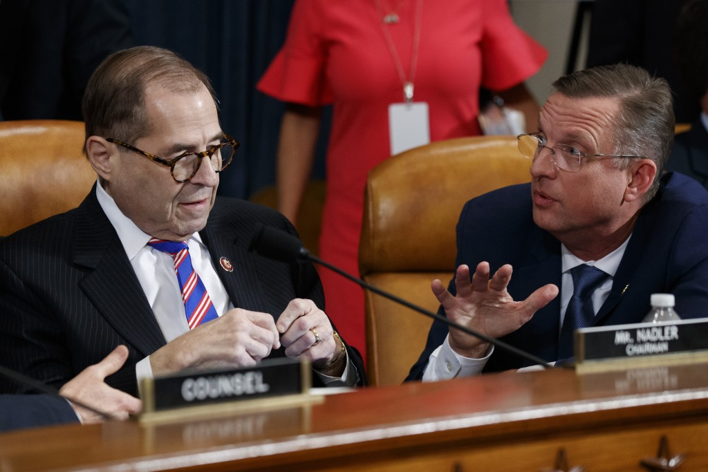 House Judiciary Committee Chairman Rep. Jerrold Nadler, D-N.Y., left, listens to ranking member Rep. Doug Collins, R-Ga., after the House Judiciary Co...