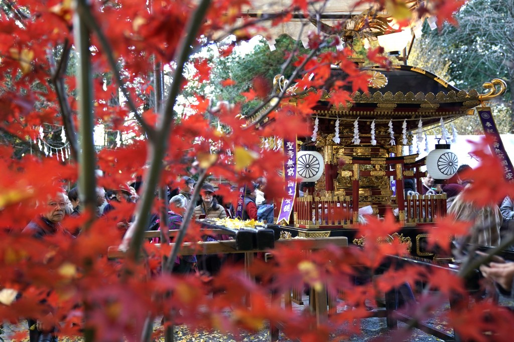 In this Tuesday, Dec. 3, 2019, photo, a mikoshi, a portable shrine, is displayed at the Chichibu Shrine during the Chichibu Night Festival in Chichibu...
