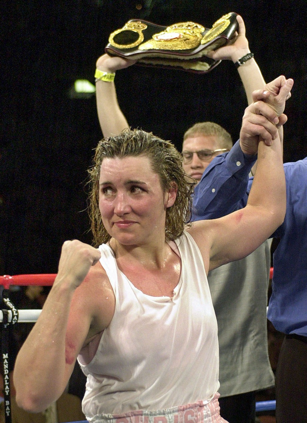 "FILE - In this March 3, 2001, file photo, Christy Martin looks toward her corner following her unanimous 10-round decision over Jeanne ""Boom Boom"" Mar..."