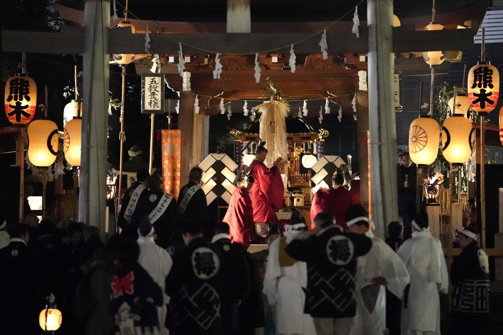 In this Tuesday, Dec. 3, 2019, photo, Shinto priests attend a ritual for the Chichibu Night Festival in Chichibu, north of Tokyo, Japan. Shinto is Jap...