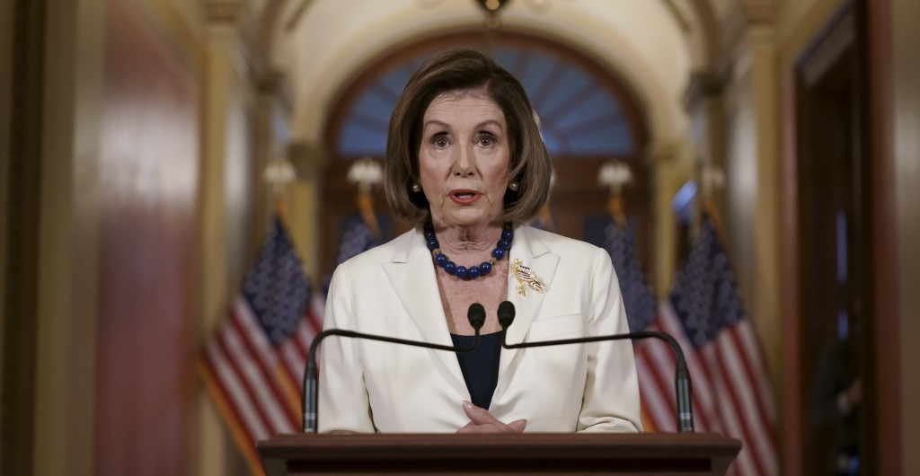 Speaker of the House Nancy Pelosi, D-Calif., makes a statement at the Capitol in Washington, Thursday, Dec. 5, 2019.  Pelosi announced that the House ...