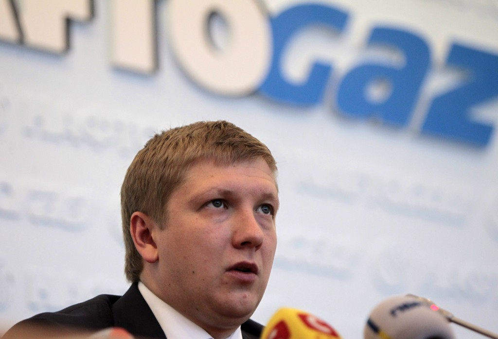 FILE - In this June 13, 2014, file photo, Naftogaz chief executive officer Andriy Kobolyev speaks during a news conference in Kyiv, Ukraine. Federal p...