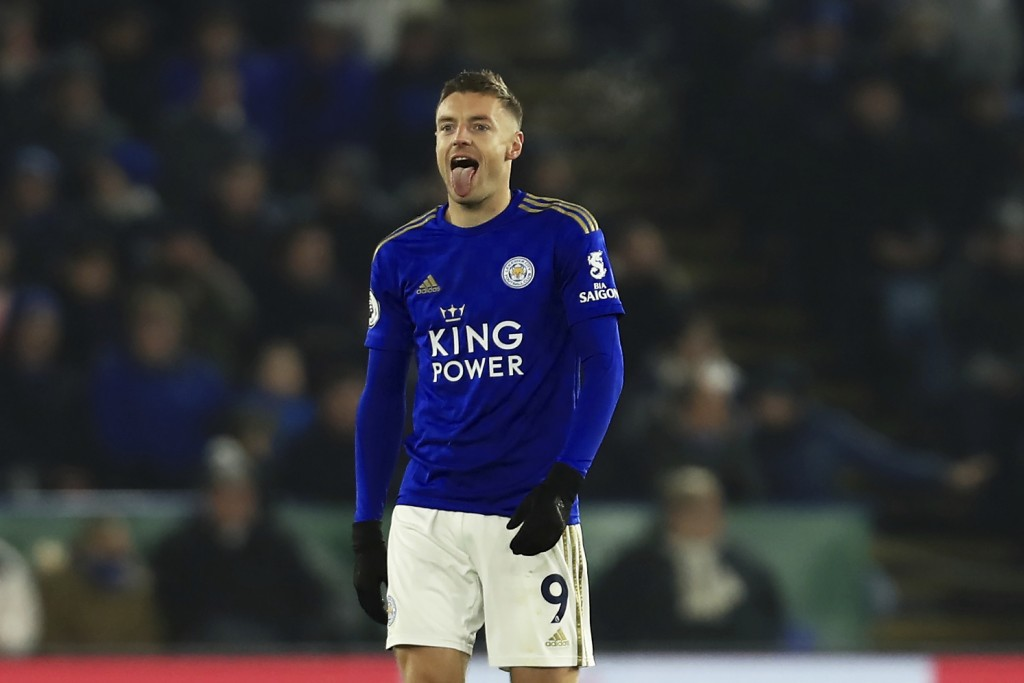 Leicester's Jamie Vardy celebrates scoring from his side's penalty against Watford during the English Premier League soccer match between Leicester Ci...