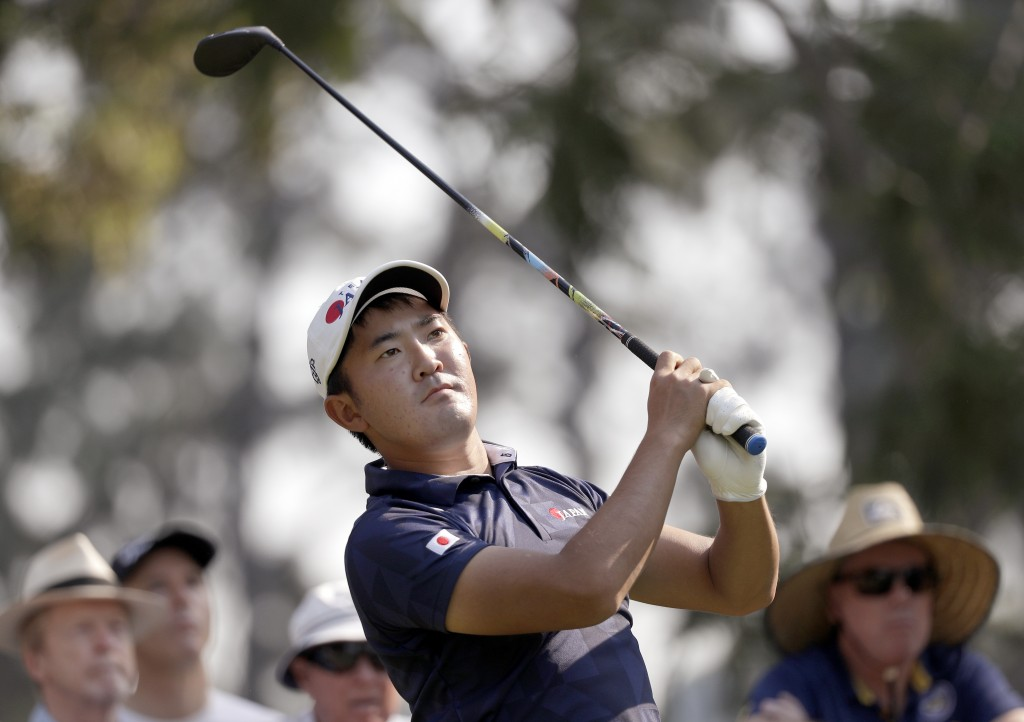 Takumi Kanaya of Japan tees off on the 17th hole during the opening round of the Australian Open Golf tournament in Sydney, Thursday, Dec. 5, 2019. (A...