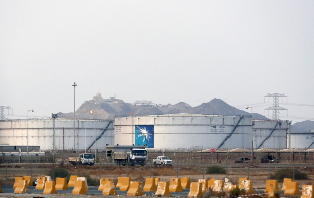 FILE - This Sept. 15, 2019 file photo, shows storage tanks at the North Jiddah bulk plant, an Aramco oil facility, in Jiddah, Saudi Arabia. Saudi Arab...