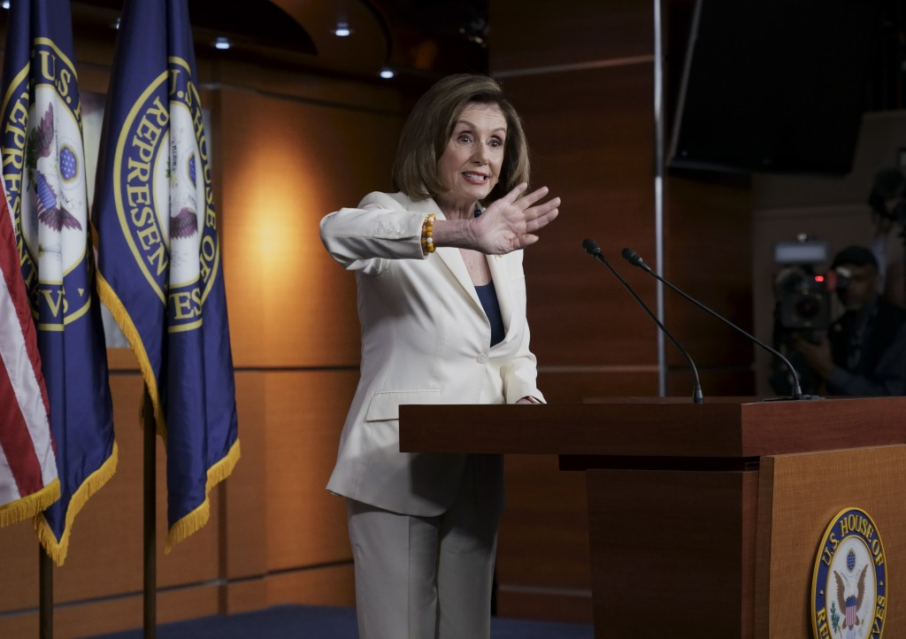 Speaker of the House Nancy Pelosi, D-Calif., responds forcefully to a question from a reporter who asked if she hated President Trump, after announcin...