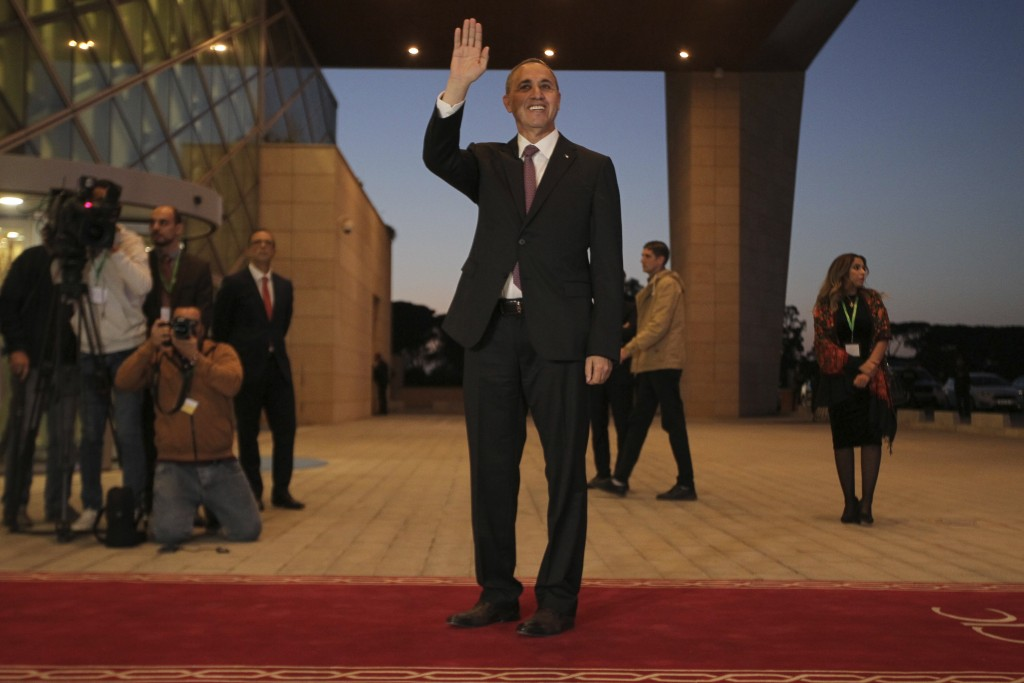 Algerian presidential candidate Azzedine Mihoubi arrives for televised debate in Algiers, Friday, Dec. 6, 2019. Restive Algeria is holding its first -...