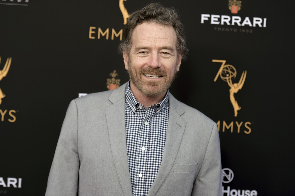 FILE - In this Aug. 20, 2018 file photo, Bryan Cranston attends the 2018 Performer Peer Group Celebration in Los Angeles. Cranston will be the celebri...