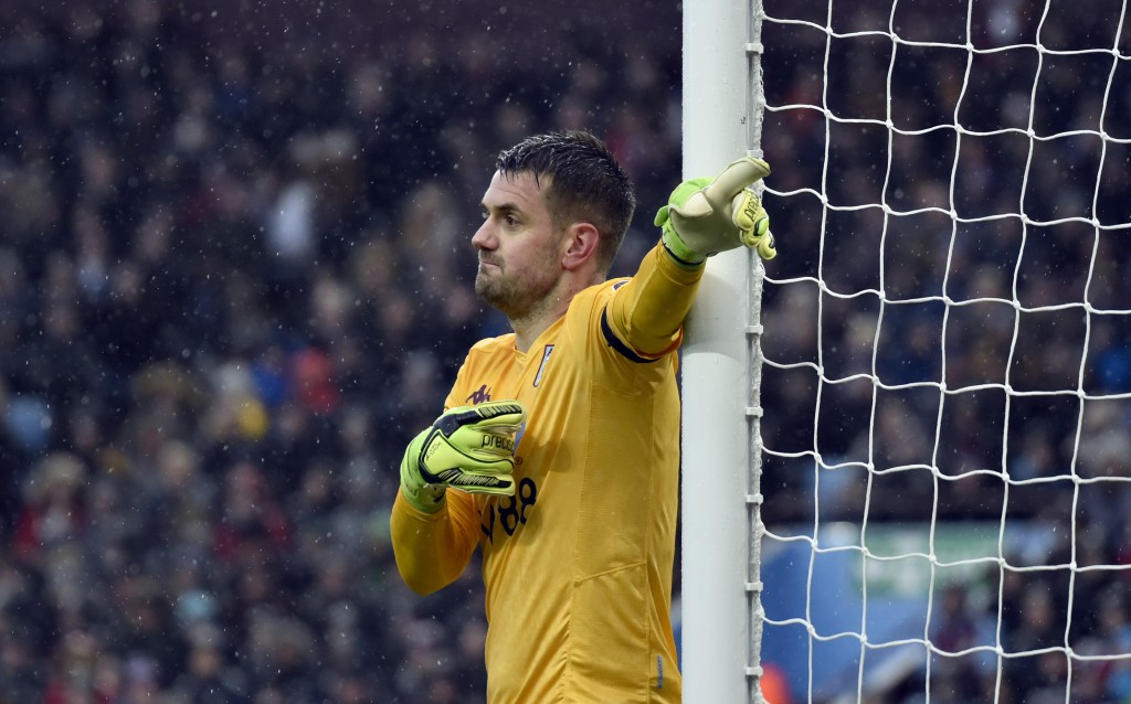 Aston Villa's goalkeeper Tom Heaton gives instructions to his players during the English Premier League soccer match between Aston Villa and Leicester...