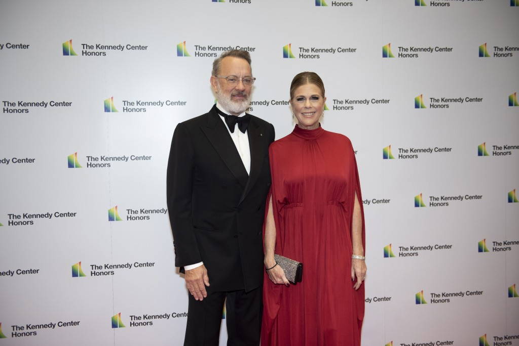 2014 Kennedy Center Honoree Tom Hanks and his wife, Rita Wilson, arrive at the State Department for the Kennedy Center Honors State Department Dinner ...