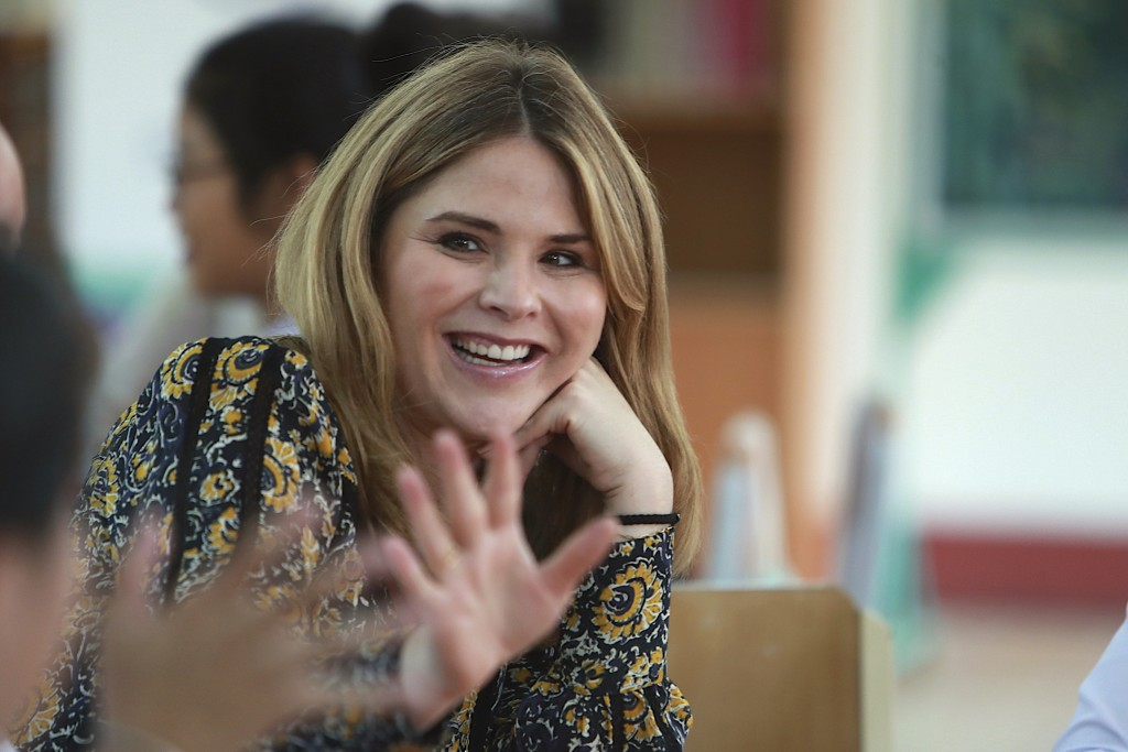 Jenna Bush Hager waves at students at Can Giuoc high school in Long An province, Vietnam Monday, Dec. 9, 2019. Bush Hager is accompanying U.S. former ...