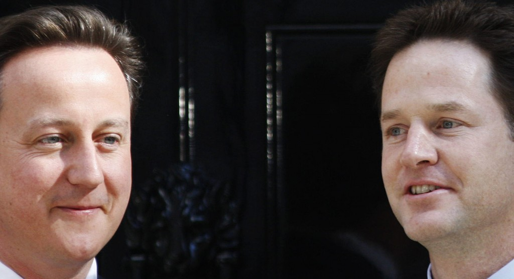 FILE - In this Wednesday, May 12, 2010 file photo, Britain's Prime Minister David Cameron, left, and Deputy Prime Minister Nick Clegg, right, pose for...