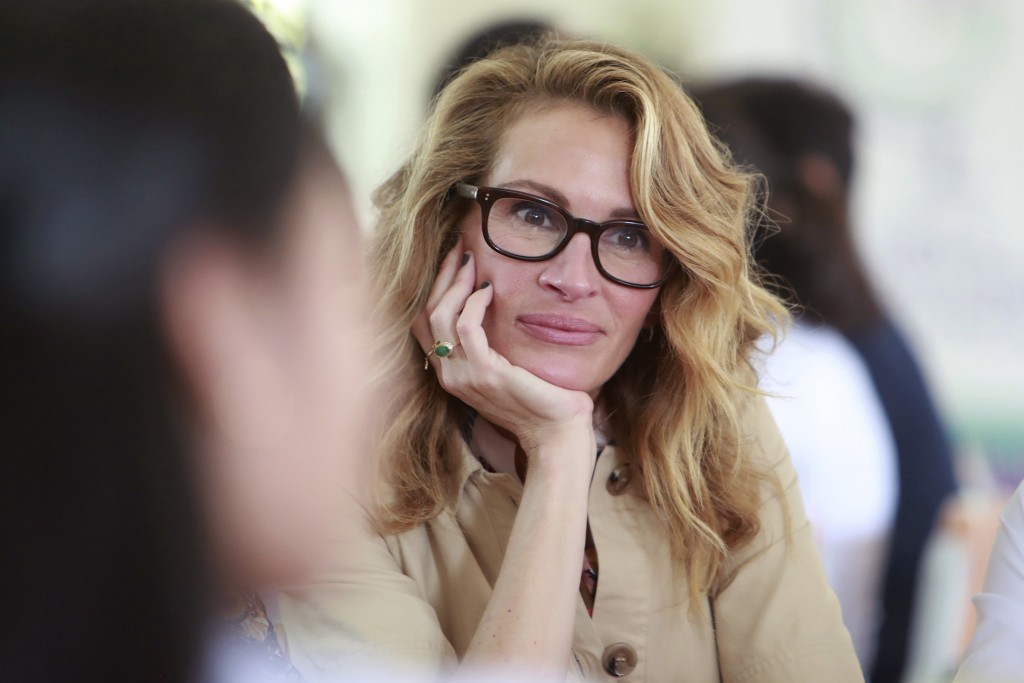 Actress Julia Roberts listens to a student at Can Giuoc high school in Long An province, Vietnam Monday, Dec. 9, 2019. Roberts is accompanying U.S. fo...