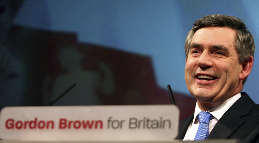 FILE - In this Sunday, June 24, 2007 file photo, Gordon Brown speaks on stage at a special Labour leadership conference in Manchester, England. Britai...