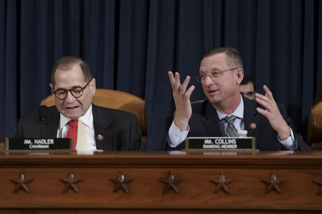 House Judiciary Committee Chairman Jerrold Nadler, D-N.Y., left, joined by Rep. Doug Collins, R-Ga., the ranking member, convenes the panel to conside...