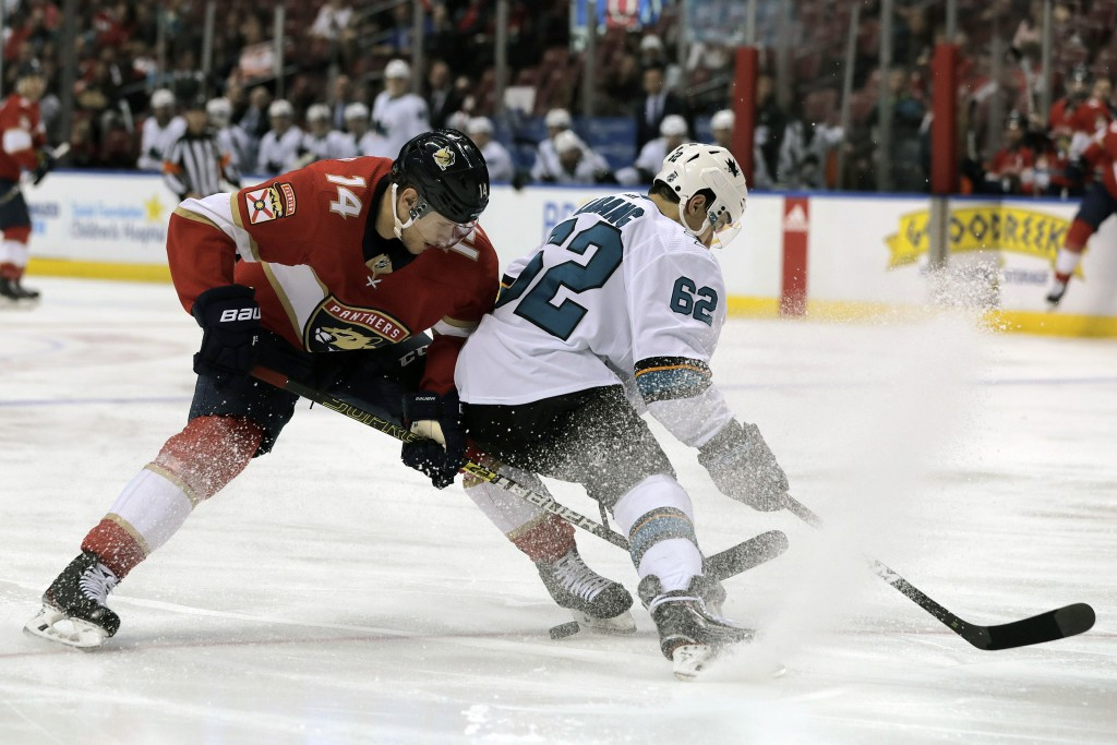 Florida Panthers' Dominic Toninato (14) and San Jose Sharks' Kevin Labanc (62) battle for the puck during the second period of an NHL hockey game, Sun...